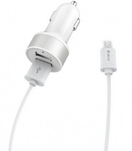 Įkroviklis automobilinis Devia Smart su 2 USB jungtimis (2.4A) + microUSB baltas