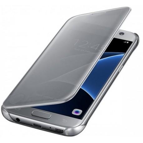 """Originalus atverčiamas sidabrinės spalvos dėklas """"Clear View Cover"""" Samsung Galaxy S7 Edge telefonui ef-zg935cse"""