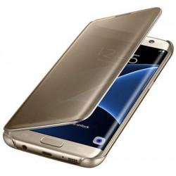"""Originalus atverčiamas auksinės spalvos dėklas """"Clear View Cover"""" Samsung Galaxy S7 Edge telefonui ef-zg935cfe"""