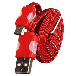 Micro USB laidas su LED pašvietimu - Raudonas