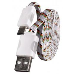 Micro USB laidas su LED pašvietimu - Baltas