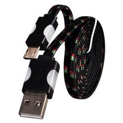 Micro USB laidas su LED pašvietimu - Juodas