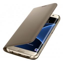 """Originalus atverčiamas auksinės spalvos dėklas """"Flip Wallet"""" Samsung Galaxy S7 Edge telefonui ef-wg935pfe"""