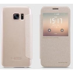 """Atverčiamas auksinės spalvos dėklas Samsung Galaxy S7 G930 Telefonui """"Nillkin Sparkle S-View"""""""