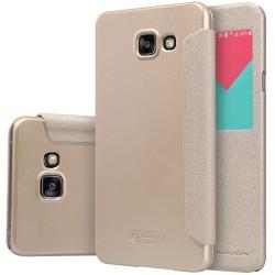 """Atverčiamas auksinės spalvos dėklas Samsung Galaxy A5 2016 Telefonui """"Nillkin Sparkle S-View"""""""
