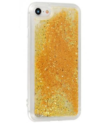 """Auksinės spalvos silikoninis dėklas su blizgučiais Samsung Galaxy S10E telefonui """"Liquid Case"""""""