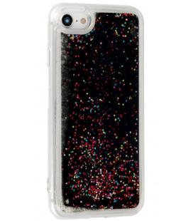"""Juodas silikoninis dėklas su blizgučiais Samsung Galaxy S10E telefonui """"Liquid Case"""""""