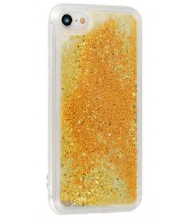 """Auksinės spalvos silikoninis dėklas su blizgučiais Samsung Galaxy S10 Plus telefonui """"Liquid Case"""""""