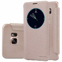 """Atverčiamas auksinės spalvos dėklas Samsung Galaxy S6 Edge Plus G928 Telefonui """"Nillkin Sparkle S-View"""""""