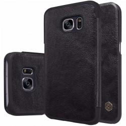 """Odinis juodas atverčiamas dėklas Samsung Galaxy S7 G930 telefonui """"Nillkin Qin"""""""