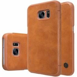 """Odinis rudas atverčiamas dėklas Samsung Galaxy S7 G930 telefonui """"Nillkin Qin"""""""