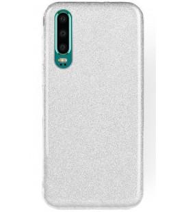"""Sidabrinės spalvos silikoninis blizgantis dėklas Huawei P30 telefonui """"Shining Case"""""""