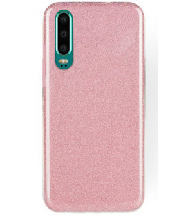 "Rožinis silikoninis blizgantis dėklas Huawei P30 telefonui ""Shining Case"""