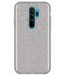 """Sidabrinės spalvos silikoninis blizgantis dėklas Xiaomi Redmi Note 8 Pro telefonui """"Shining Case"""""""