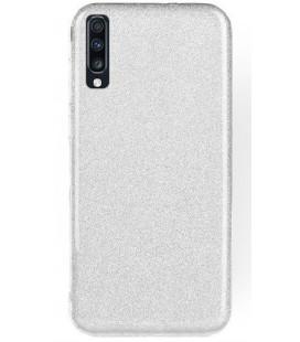 """Sidabrinės spalvos silikoninis blizgantis dėklas Samsung Galaxy A70 telefonui """"Shining Case"""""""