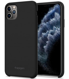 "Juodas silikoninis dėklas Apple iPhone 11 Pro Max telefonui ""Spigen Silicone Fit"""