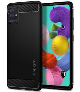 "Juodas dėklas Samsung Galaxy A51 telefonui ""Spigen Rugged Armor"""