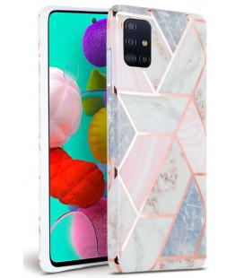 """Rožinis dėklas su marmuro efektu Samsung Galaxy A51 telefonui """"Tech-Protect Marble"""""""