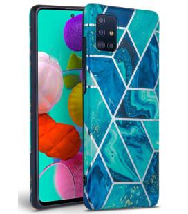"Mėlynas dėklas su marmuro efektu Samsung Galaxy A51 telefonui ""Tech-Protect Marble"""