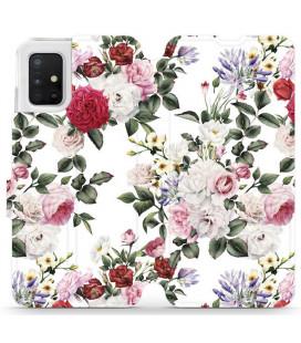 """Atverčiamas dėklas """"Gėlės"""" Samsung Galaxy A51 telefonui """"Mobiwear MD01S"""""""