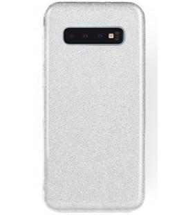 """Sidabrinės spalvos silikoninis blizgantis dėklas Samsung Galaxy S10 Plus telefonui """"Shining Case"""""""