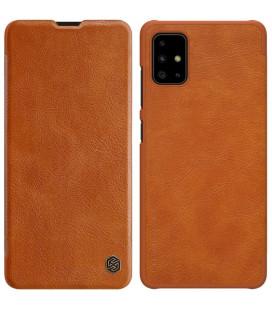 """Odinis rudas atverčiamas dėklas Samsung Galaxy A51 telefonui """"Nillkin Qin"""""""