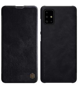 """Odinis juodas atverčiamas dėklas Samsung Galaxy A51 telefonui """"Nillkin Qin"""""""