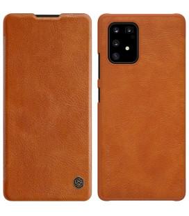 """Odinis rudas atverčiamas dėklas Samsung Galaxy S10 Lite telefonui """"Nillkin Qin"""""""