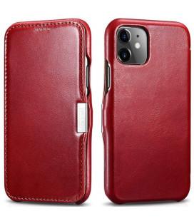 """Raudonas odinis atverčiamas dėklas Apple iPhone 11 telefonui """"iCarer Vintage"""""""