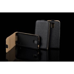 """Juodas atverčiamas dėklas Sony Xperia M4 Aqua telefonui """"Telone Vertical POCKET"""""""