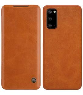 """Odinis rudas atverčiamas dėklas Samsung Galaxy S20 telefonui """"Nillkin Qin"""""""