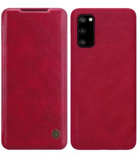 """Odinis raudonas atverčiamas dėklas Samsung Galaxy S20 telefonui """"Nillkin Qin"""""""