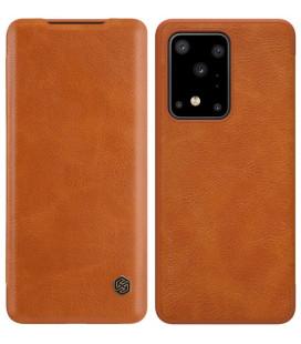 """Odinis rudas atverčiamas dėklas Samsung Galaxy S20 Ultra telefonui """"Nillkin Qin"""""""
