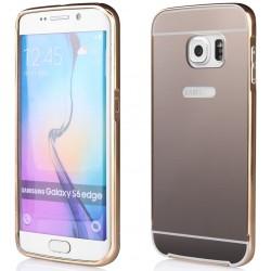 Rausvai auksinės spalvos metalinis rėmelis su veidrodiniu dangteliu Samsung Galaxy S6 Edge G925 telefonui