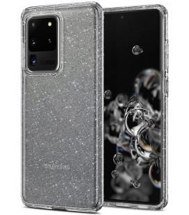 "Skaidrus dėklas su blizgučiais Samsung Galaxy S20 Ultra telefonui ""Spigen Liquid Crystal Glitter"""