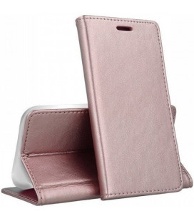 """Rausvai auksinės spalvos atverčiamas dėklas Samsung Galaxy A70 telefonui """"Smart Magnetic"""""""