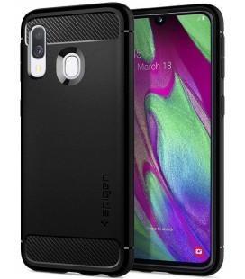 "Matinis juodas dėklas Samsung Galaxy A40 telefonui ""Spigen Rugged Armor"""