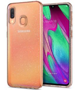 "Skaidrus dėklas su blizgučiais Samsung Galaxy A40 telefonui ""Spigen Liquid Crystal Glitter"""