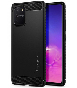 """Matinis juodas dėklas Samsung Galaxy S10 Lite telefonui """"Spigen Rugged Armor"""""""