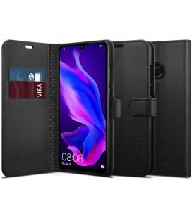 """Juodas atverčiamas dėklas Huawei P30 Lite telefonui """"Spigen Wallet S"""""""