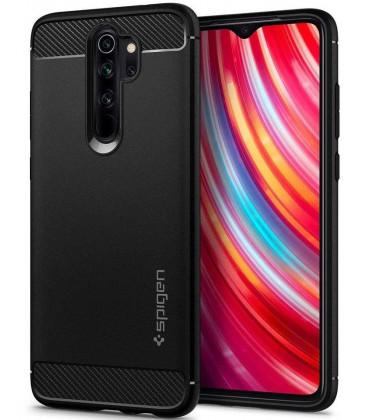 "Juodas dėklas Xiaomi Redmi Note 8 Pro telefonui ""Spigen Rugged Armor"""