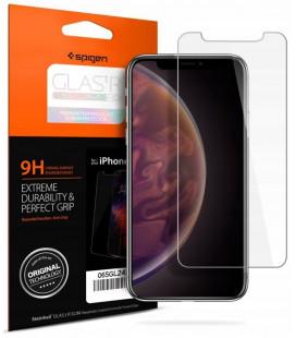 "Apsauginis grūdintas stiklas Apple iPhone XS Max / 11 Pro Max telefonui ""Spigen Glas.TR Slim HD"""