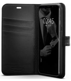 """Juodas atverčiamas dėklas Samsung Galaxy S8 Plus telefonui """"Spigen Wallet S"""""""