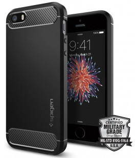 "Juodas dėklas Apple iPhone 5/5s/SE telefonui ""Spigen Rugged Armor"""
