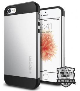 """Sidabrinės spalvos dėklas Apple iPhone 5S / SE telefonui """"Spigen Slim Armor"""""""