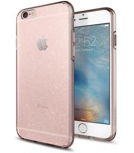 """Rausvai auksinės spalvos dėklas su blizgučiais Apple iPhone 6 / 6S telefonui """"Spigen Liquid Crystal Glitter"""""""