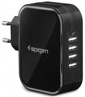 """Juodas 4x USB pakrovėjas """"Spigen F401"""""""