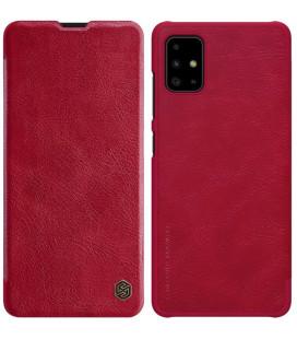 """Odinis raudonas atverčiamas dėklas Samsung Galaxy A51 telefonui """"Nillkin Qin"""""""