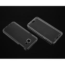 """Skaidrus silikoninis dėklas Samsung Galaxy A3 2016 A310 Telefonui """"Fitty Double"""" Skirtas apsaugoti telefono nugarėle ir ekraną."""