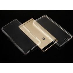 """Skaidrus silikoninis dėklas Huawei P8 Telefonui """"Fitty Double"""" Skirtas apsaugoti telefono nugarėle ir ekraną."""